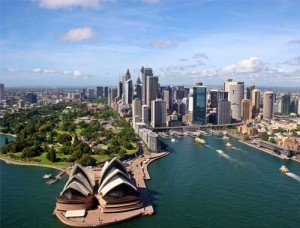 Vista aérea de la ópera de Sydney