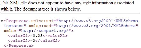 Pantalla de respuesta del web service