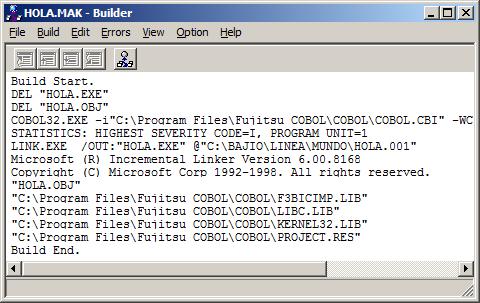 Compilación exitosa del programa