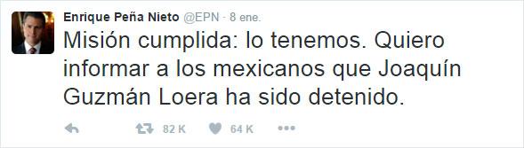 Twitt sobre la recaptura del Chapo