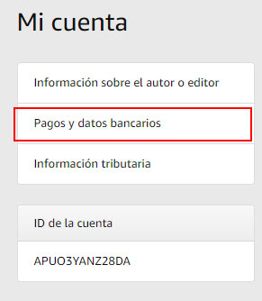 pagos datos bancarios de amazon