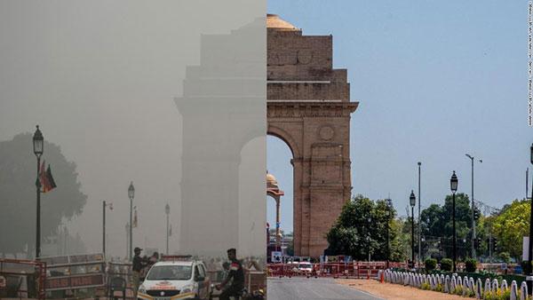 Contaminación antes y después del confinamiento en Nueva Delhi